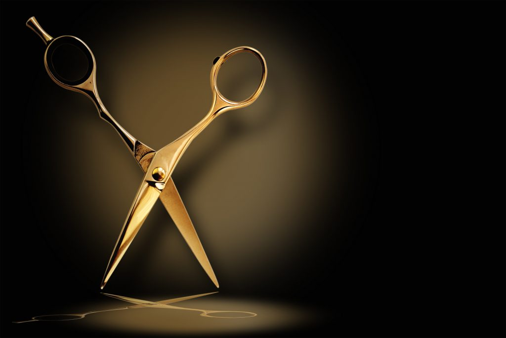 Professional hairdresser scissors with reflection